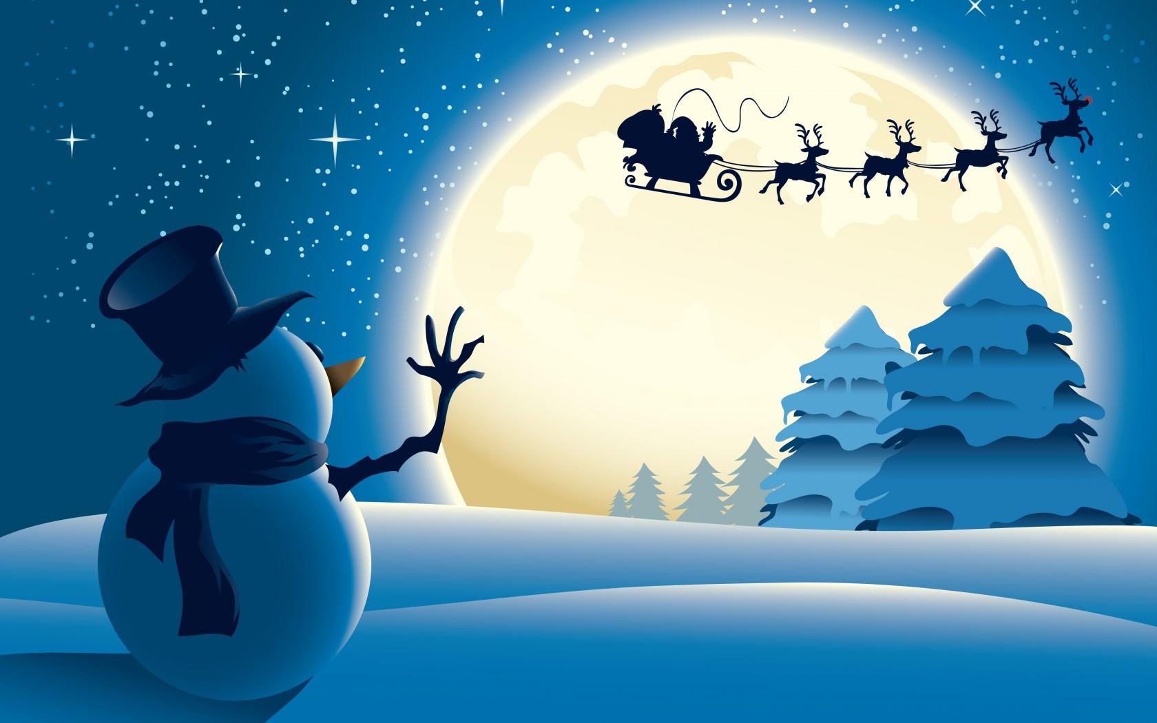 Обои снеговик, сани, олени, новый год, дед мороз, луна на ...