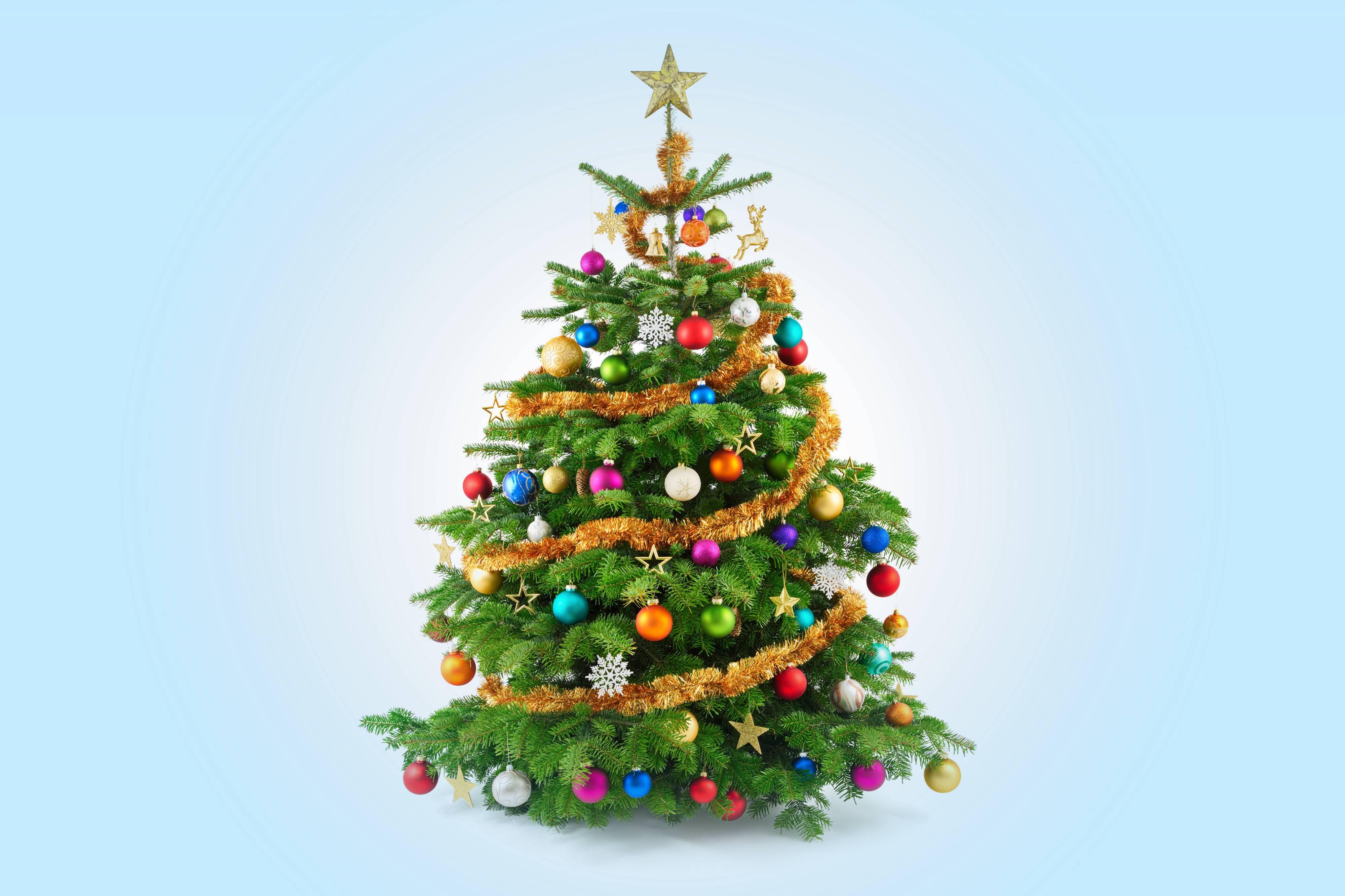 Обои красивая новогодняя елка с украшениями на рабочий стол