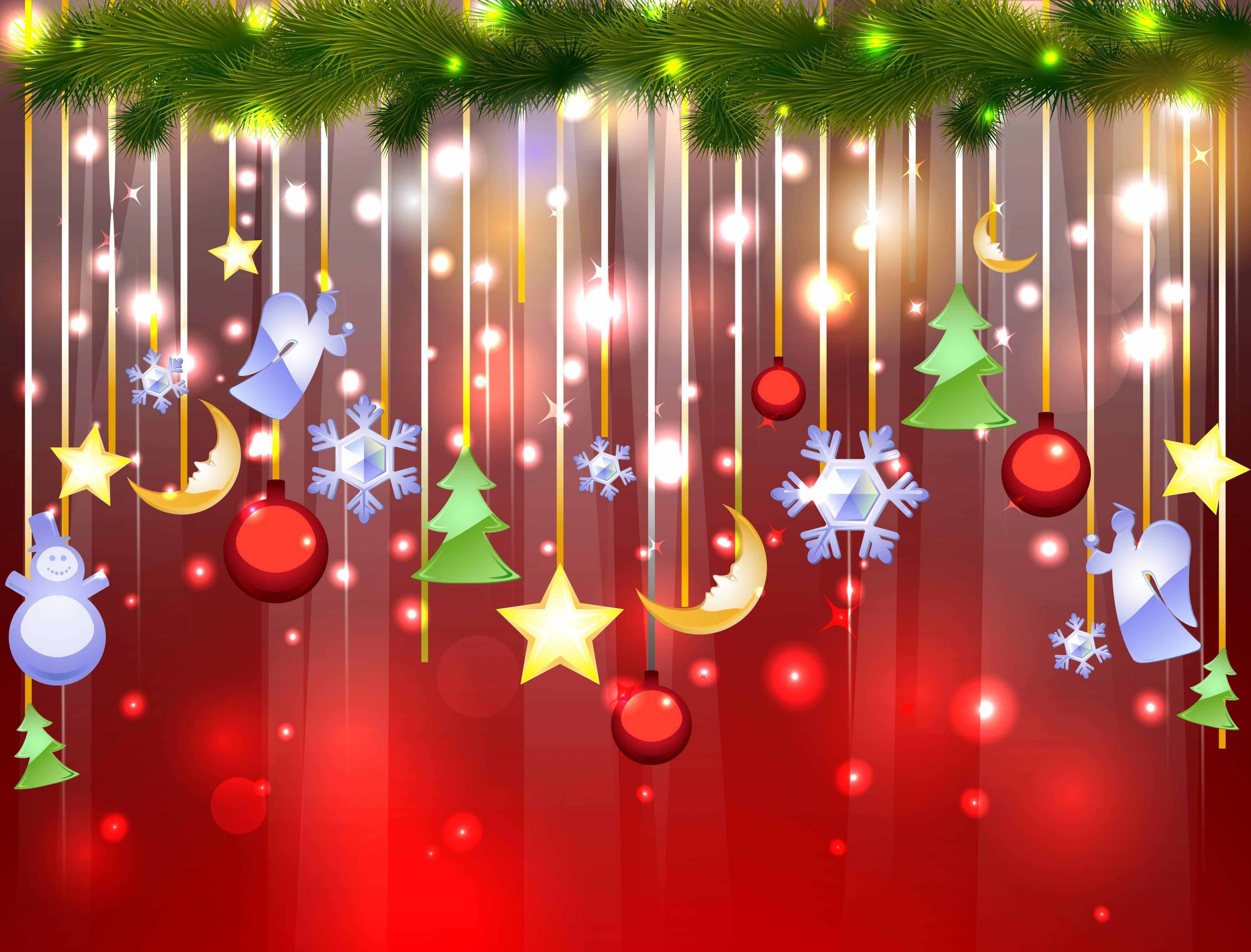 Обои новогодние игрушки украшения ветка елки праздни на рабочий стол
